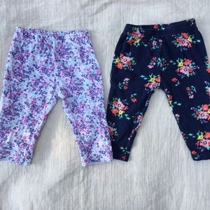 Other - Baby floral print leggings owl butt 6 months